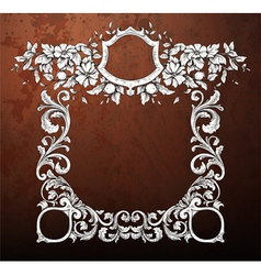 grunge frame with floral vector image