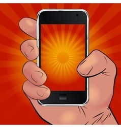 Hand holding phone and picturing sunrise vector