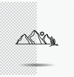 hill landscape nature mountain scene line icon on vector image