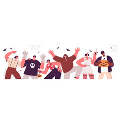 horizontal banner with group happy people vector image