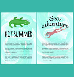 hot summer and hot adventures text posters set vector image