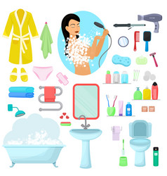 hygiene personal care beautiful woman vector image