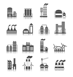Industrial building icons vector image vector image