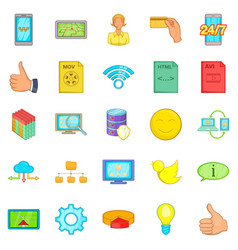 Internet entertainment icons set cartoon style vector