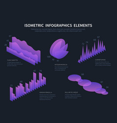isometric infographics elements business graphics vector image