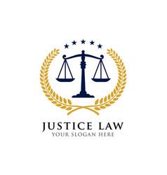 Justice law badge logo design template attorney vector