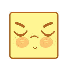 Kawaii face with eyes closed icon vector