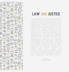 Law and justice concept with thin line icons vector