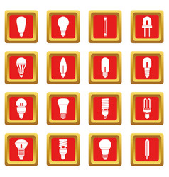 Light bulb icons set red vector