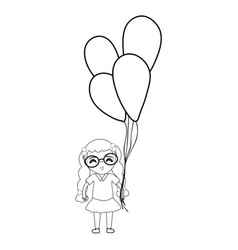 line pretty girl with hairstyle and balloons vector image