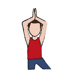 Man practice yoga vector