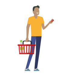 Man with shopping basket vector