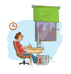 Man works on computer hand drawn sketch vector