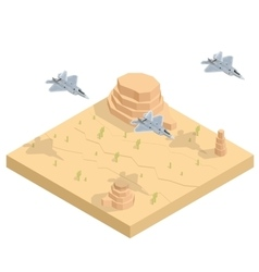 Military airplane at flying Flat 3d isometric vector
