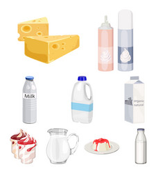 milk product and sweet set icons in cartoon style vector image