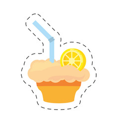 milk shake orange juice straw cut line vector image