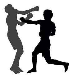 mma fighters silhouette multi martial arts battle vector image