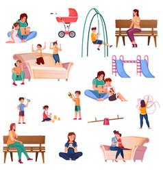 motherhood flat color set vector image