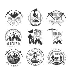 Mountain Climbing Extreme Adventure Tour Black And vector