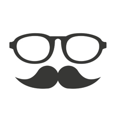 mustache and glasses hipster style vector image