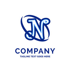 n company name design blue logo design vector image