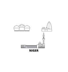 Niger line travel skyline set niger outline city vector