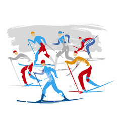 Nordic ski race crosscountry skiers vector