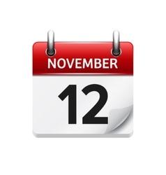 November 12 flat daily calendar icon vector