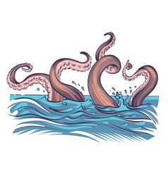 Octopus tentacle in sea underwater ocean vector