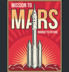 Outer space journey to mars background universe vector
