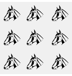 Pattern monochrome black and white Horse head hand vector image