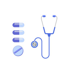 Pills with stethoscope composition vector
