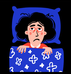 Psychology sleep disorder woman character with vector