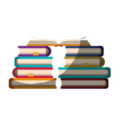 Realistic colorful shading image of stack of books vector