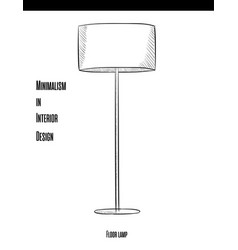 Round floor lamp on a long leg in a contour on a vector