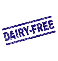 Scratched textured dairy-free stamp seal vector