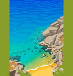Sea lagoon with rocks and a small beach vector