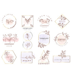 Set hand drawn watercolor labels and badges vector