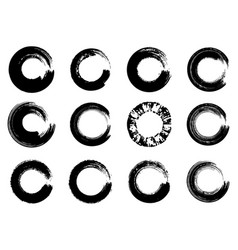 Set of black ink round brush stroke on white vector