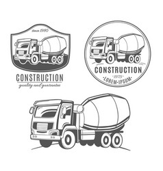 Set of logos with concrete mixer truck vector