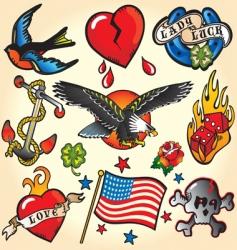Set of retro tattoos vector