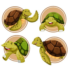 set of turtle banner vector image