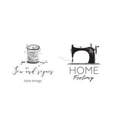 sewing machine hobby logotype vector image