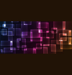 shiny neon design square shape abstract background vector image