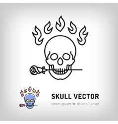 skull logo design template line art icon vector image