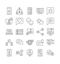 social media and networks related line vector image