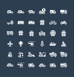solid icons set with public transport cars vector image