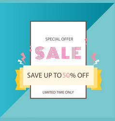 Special offer sale save up to 50 off ribbon backg vector