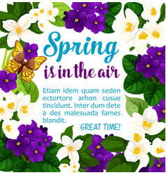 Spring holiday flowers bloom poster vector
