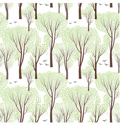 Spring nature seamless pattern spring tree forest vector